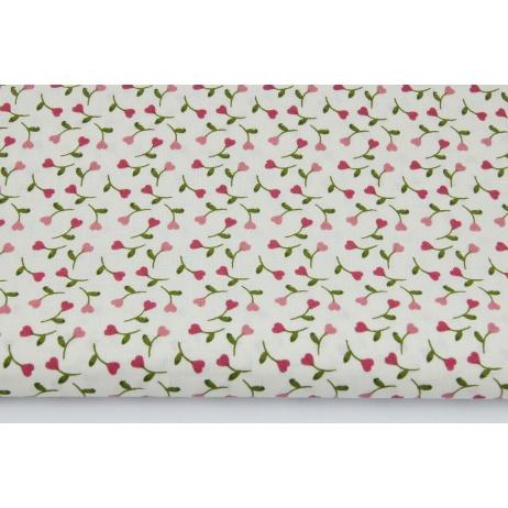Bawełna 100% różowe małe serduszka z łodyżkami na jasnym tle