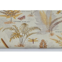 Cotton 100% autumn ferns on a beige background