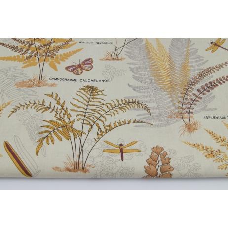 Cotton 100% autumn ferns on a beige background