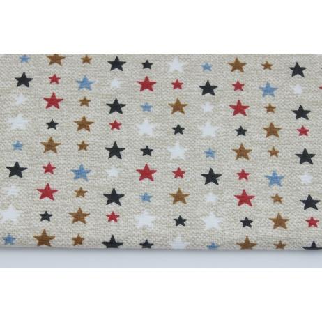 Bawełna 100% kolorowe gwiazdki na lnianym tle