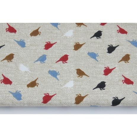 Bawełna 100% kolorowe ptaszki na lnianym tle