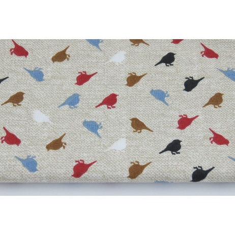 Cotton 100% birds on a linen background