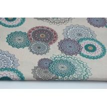 Bawełna 100% kolorowy wzór mandala na beżowym tle.
