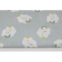 Cotton 100% smiling clouds on a light gray background.