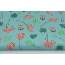 Cotton 100% small flamingos, leaves on a turquoise background
