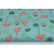 Bawełna 100% małe flamingi, liście na turkusowym tle