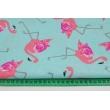 Bawełna 100% flamingi na turkusowym tle