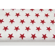 Cotton 100% burgundy stars 25mm on a white background