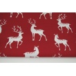 Cotton 100% whitetail deer on a burgundy background