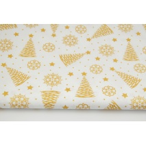 Cotton 100% golden Christmas trees, stars on a white background