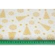 Bawełna 100% złote choinki, gwiazdki na białym tle