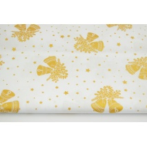 Cotton 100% golden bells, stars on a white background