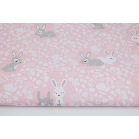 Cotton 100% bunnies in the forest on a pink background