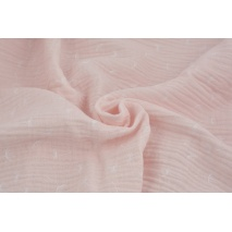 Double gauze 100% cotton small puffballs on a candy pink background