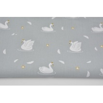 Cotton 100% swans in gold crowns on a gray background