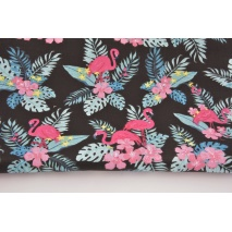 Cotton 100% flamingos, pink flowers on a black background