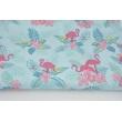 Bawełna 100% flamingi, różowe kwiaty na turkusowym tle
