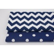 Cotton 100% navy blue chevron zigzag