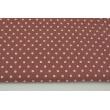 Muślin bawełniany, kropki 5mm na rudym tle