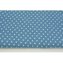 Double gauze 100% cotton dots 5mm on a dark blue background