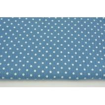 Muślin bawełniany, kropki 5mm na ciemnoniebieskim tle