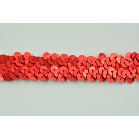 Taśma cekinowa czerwona 20mm, elastyczna