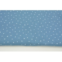 Double gauze 100% cotton tiny white stars on a dark blue background