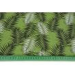 Bawełna 100% czarne i białe liście palmowe na zielonym tle
