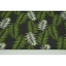 Bawełna 100% zielone i białe liście palmowe na czarnym tle