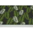Cotton 100% green and white palm leaves on a black background