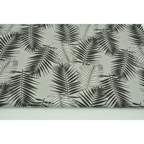 Cotton 100% black and white palm leaves on a light gray background