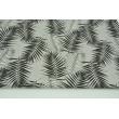 Bawełna 100% czarne i białe liście palmowe na jasnoszarym tle