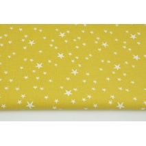 Bawełna 100% nieregularne gwiazdki białe na musztardowym tle