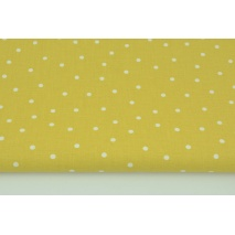 Cotton 100% irregular dots 5mm on a mustard background