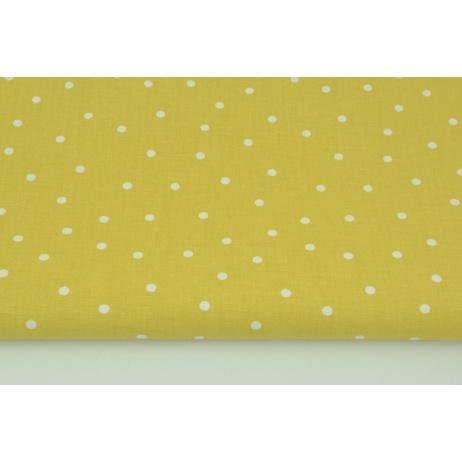 Bawełna 100% nieregularne kropki 5mm na musztardowym tle
