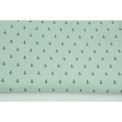 Double gauze 100% cotton, small black anchors on a powder mint background