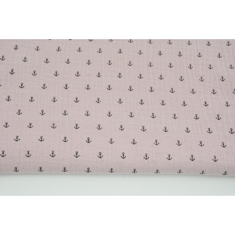 Double gauze 100% cotton, small black anchors on a dirty heather background