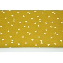 Tkanina dekoracyjna, mikro trójkąty na musztardowym tle 160g/m2