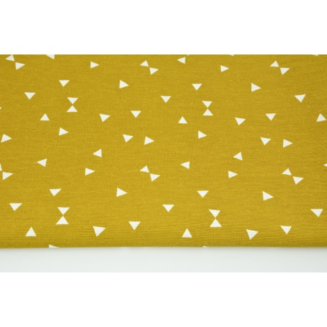 Decorative fabric, micro triangles on a mustard background 160g/m2