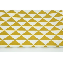 Decorative fabric, mustard triangles in row 160g/m2
