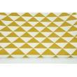 Tkanina dekoracyjna, musztardowe trójkąty RZ 160g/m2