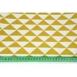Decorative fabric, mustard triangles in row 160g/m2