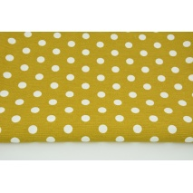 Tkanina dekoracyjna, kropki 12mm na musztardowym tle 160g/m2