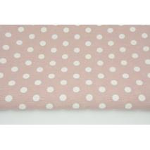 Tkanina dekoracyjna, kropki 12mm na brudnym różu 160g/m2