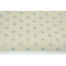 Decorative fabric, silver dots 12mm on a linen background 187g/m2