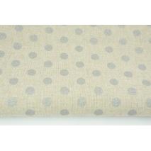 Tkanina dekoracyjna, srebrne kropki 12mm na lnianym tle 187g/m2