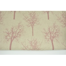 Decorative fabric, dark pink trees on a linen background 187g/m2