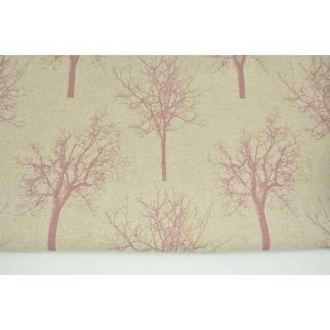 Tkanina dekoracyjna, ciemnoróżowe drzewa na lnianym tle 187g/m2