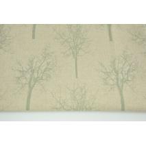 Tkanina dekoracyjna, miętowe drzewa na lnianym tle 187g/m2