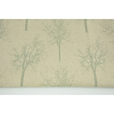 Decorative fabric, mint trees on a linen background 187g/m2